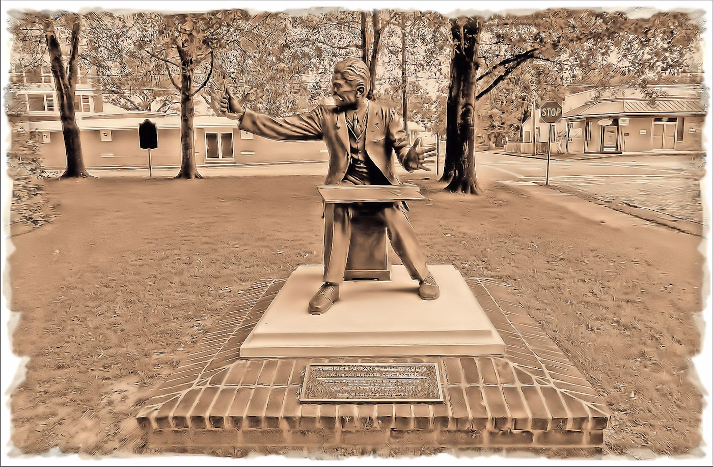 Diedrich Rulfs Statue in Historic Nacogdoches