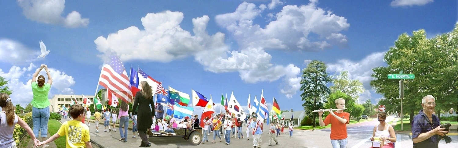 Parade of Nations in Historic Nacogdoches