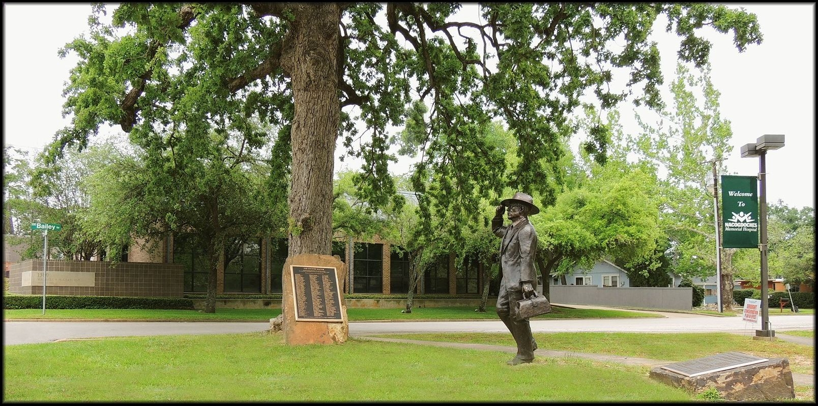 Statue of the Country Doctor on Mound and Bailey Street in Historic Nacogdoches