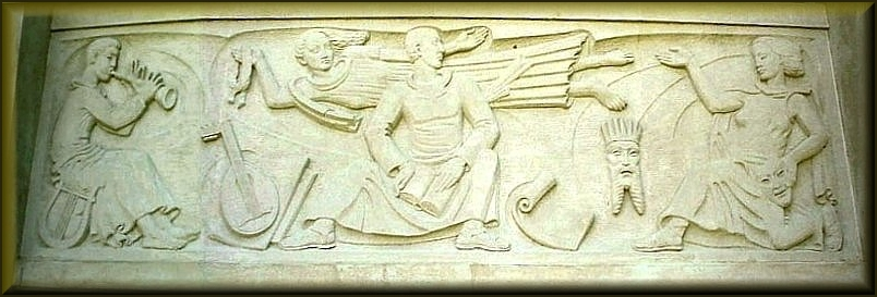 Monumental Relief Sculpture on the Griffith Fine Arts Building in Historic Nacogdoches