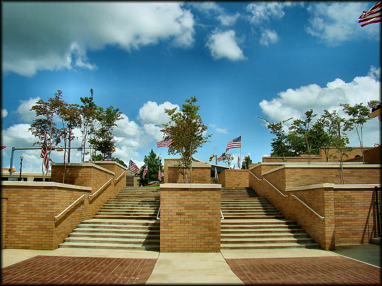 Walkway to the Memorial Wall at Nacogdoches County Courthouse