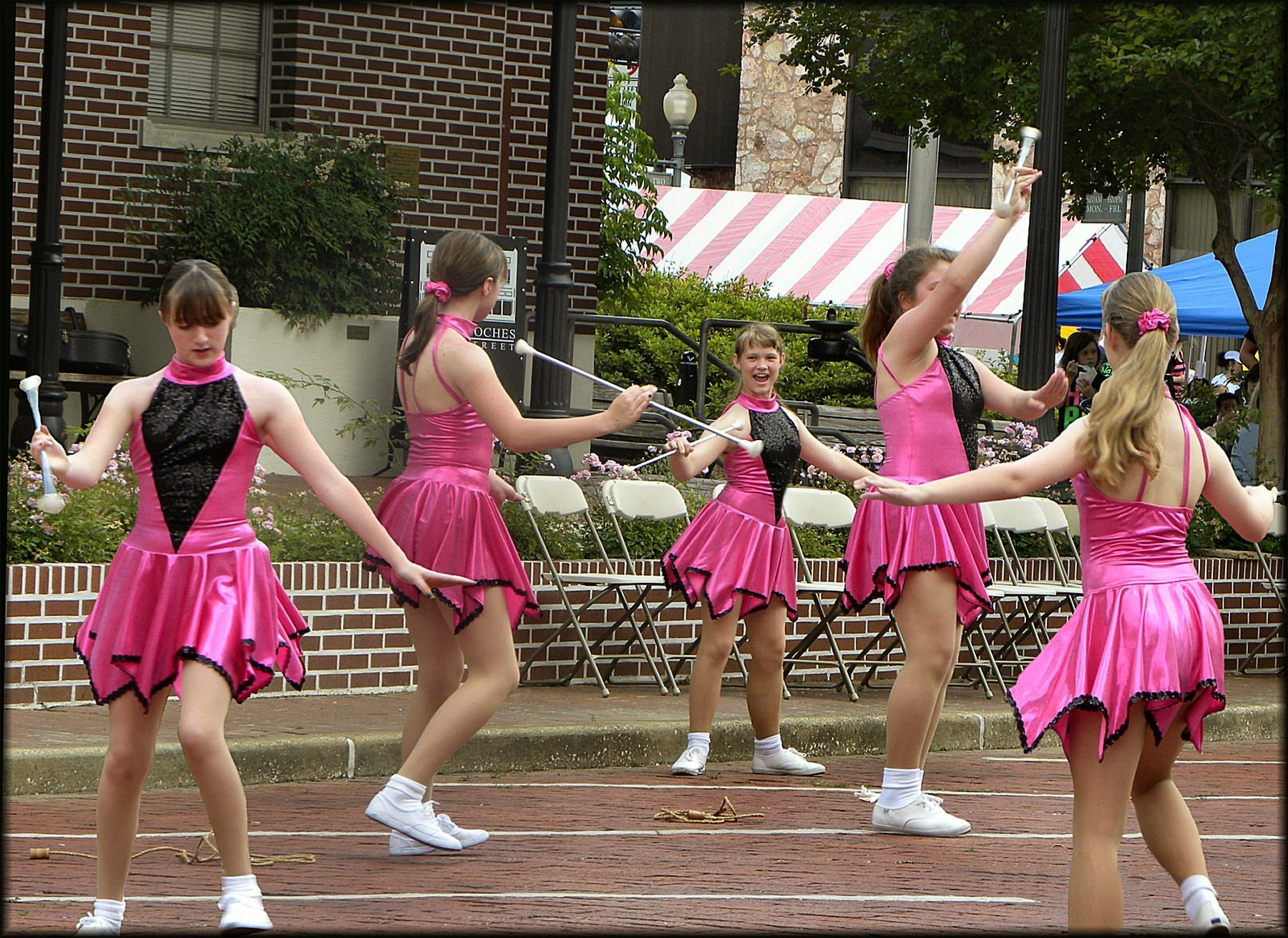Twirlers at the Multicultural Festival in Historic Nacogdoches