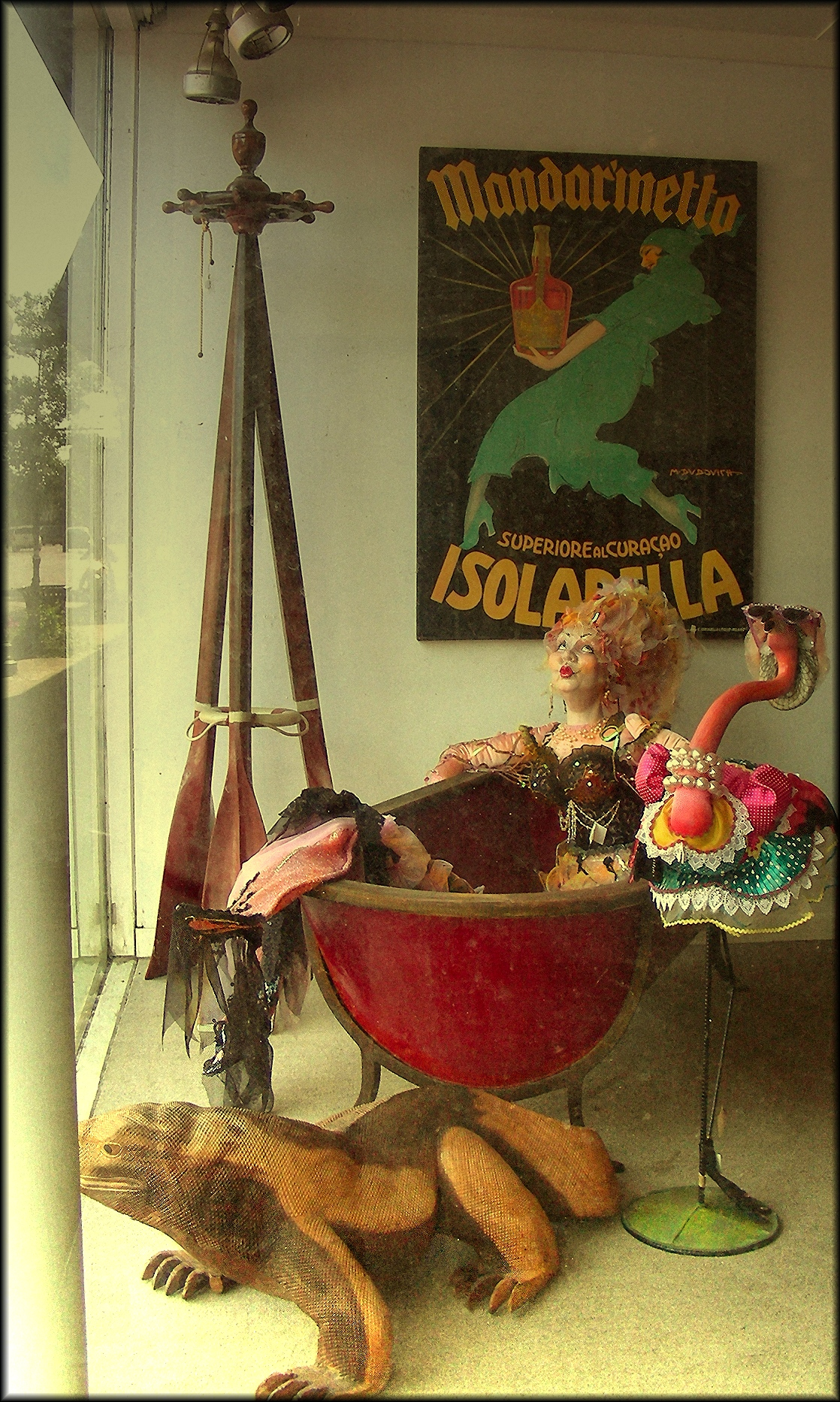 Dazzled Mannequin and Bespectacled Flamingo in Downtown Historic Nacogdoches