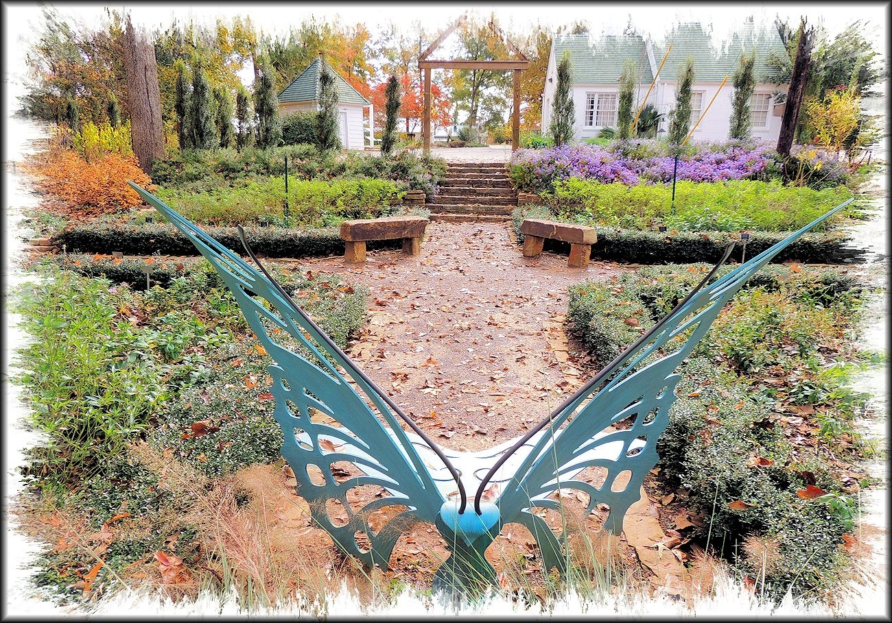 The Butterfly Bench in Mimi's Garden at the Tucker House at the SFA Pineywoods Native Plant Center