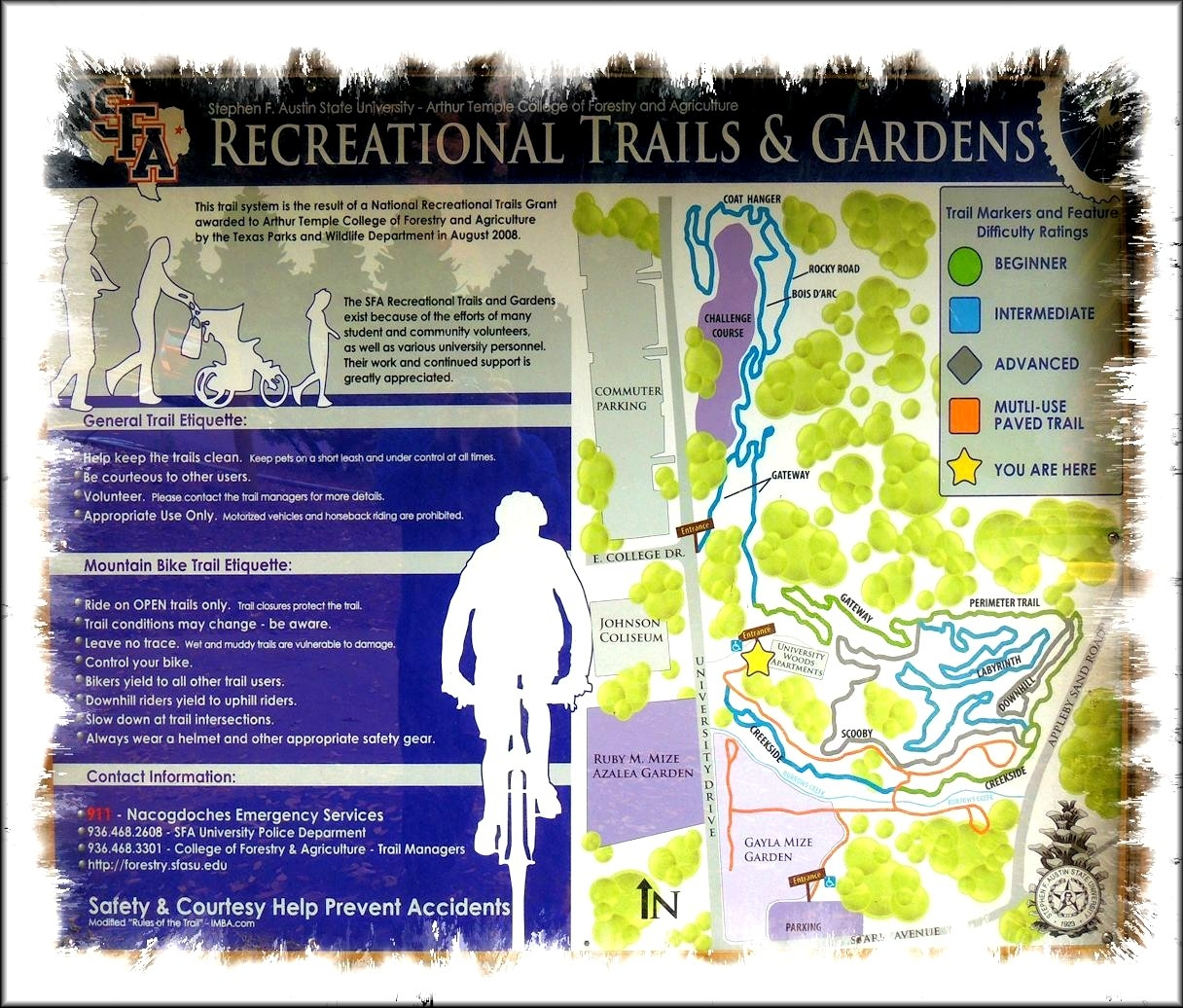 A Map of the Trails at the SFA Recreational Trails in Historic Nacogdoches