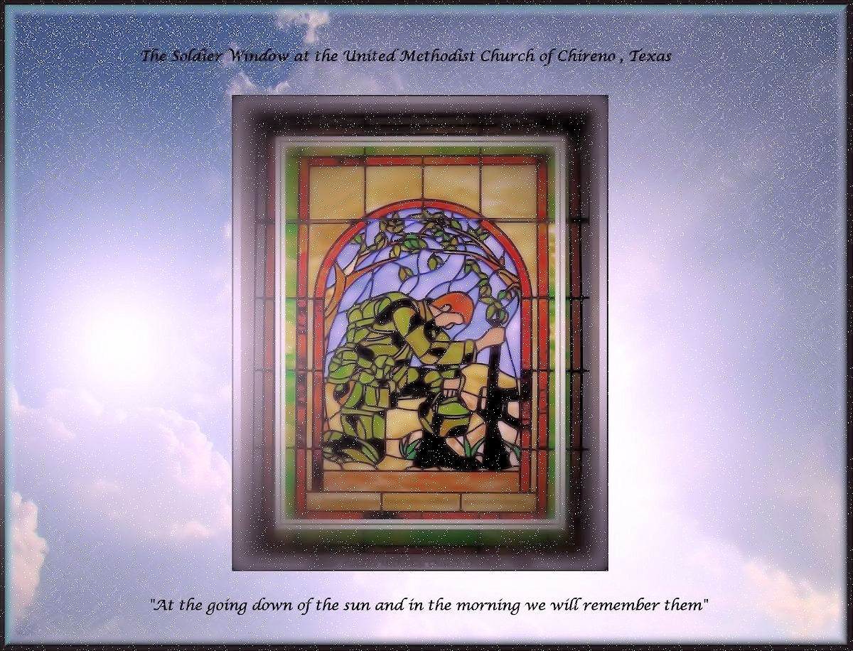 The Soldier Window of United Methodist Church in Chireno, Texas