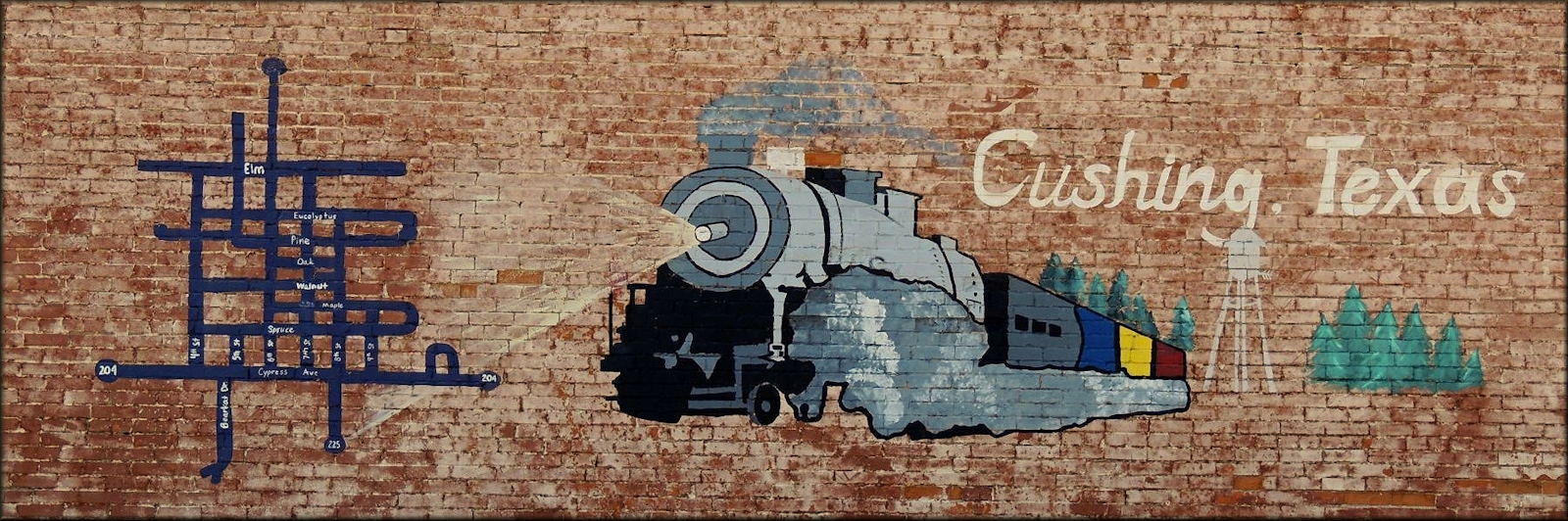 The Maple St. Mural in Downtown Cushing, Texas