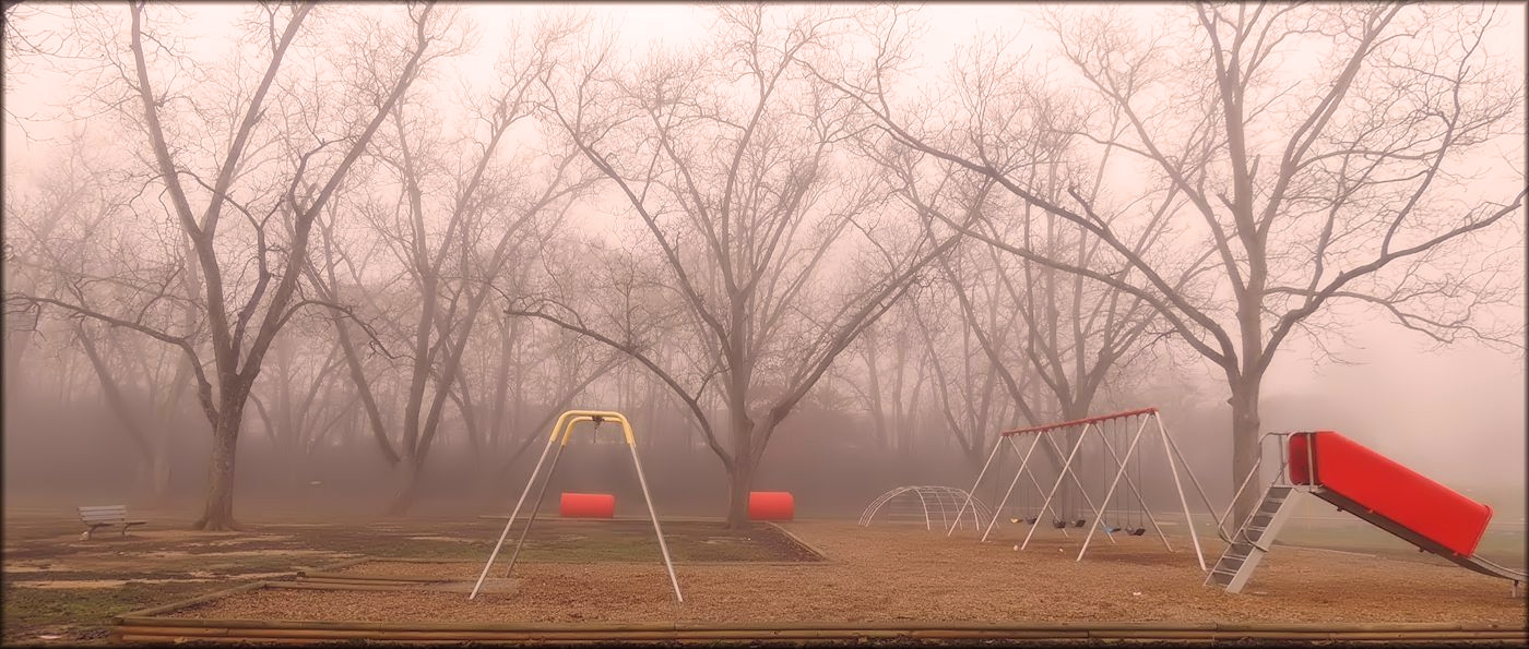 The Playground on a Foggy Winter Morning in Pecan Acres Park