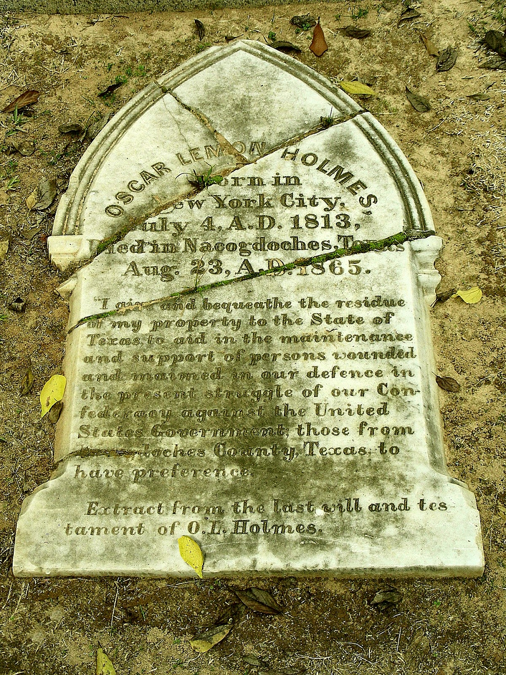 Last Will and Testament Monument at Oak Grove Cemetery in Historic Nacogdoches