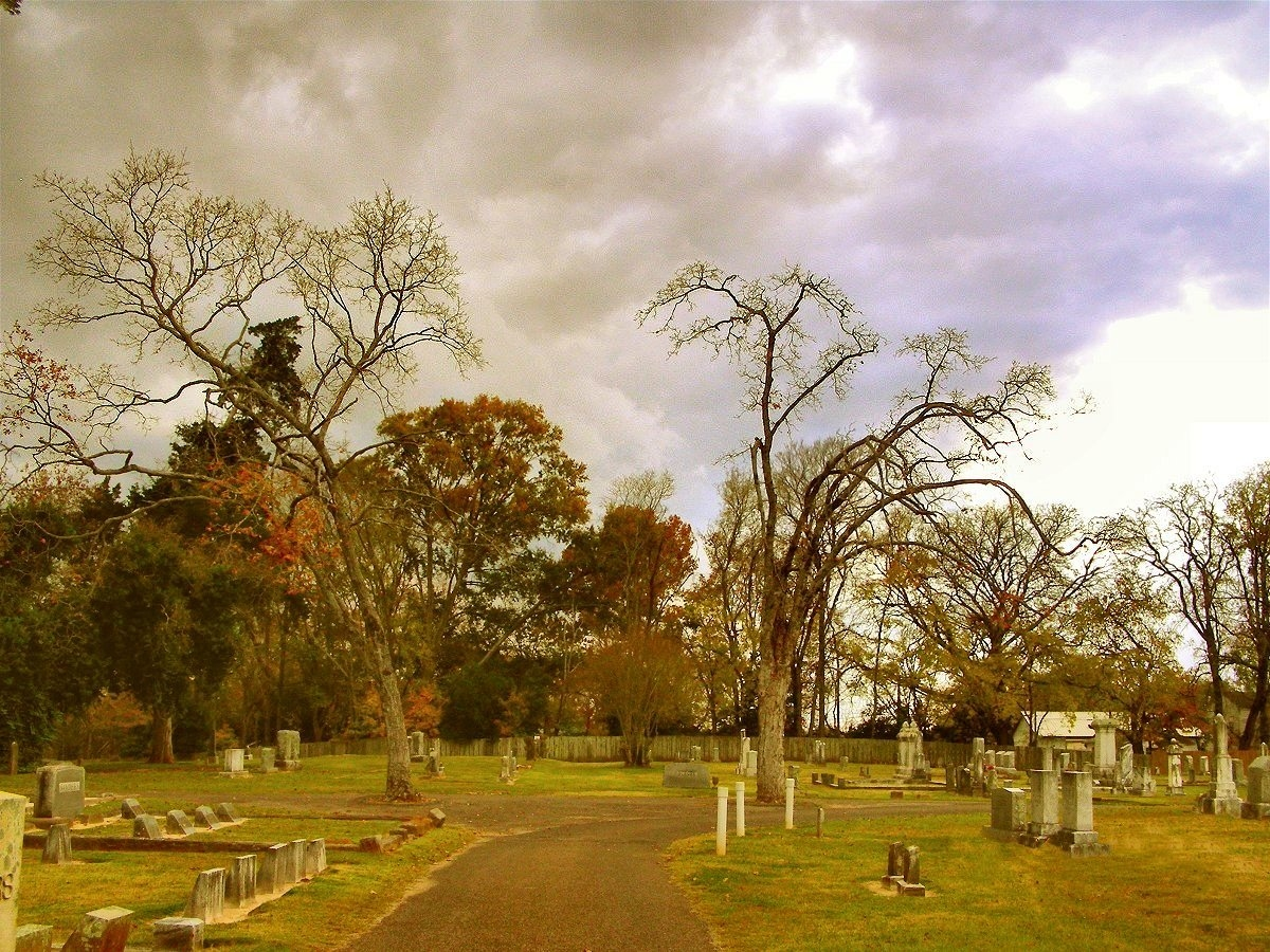 Curve in the Road at  Oak Grove Cemetery in Historic Nacogdoches