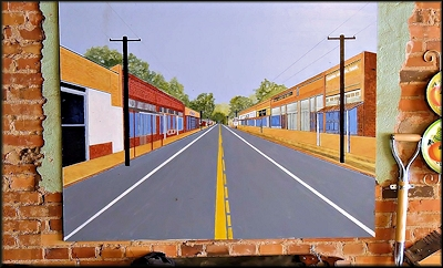 A Painting of Seventh Street on the Wall of the 7th Street Restaurant in Cushing, Texas