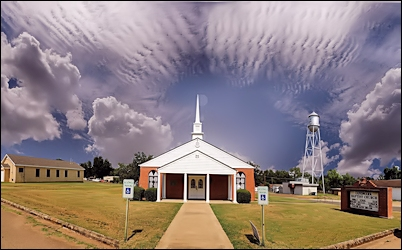 The Landmark Baptist Church on 7th Street in Cushing, Texas
