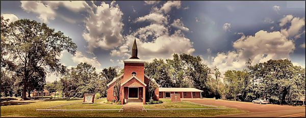 First Methodist Church on Eucalyptus Street in Cushing, Texas