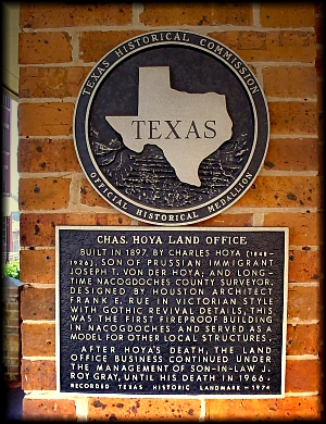 A Texas Historical Commission Medallion in Historic Nacogdoches