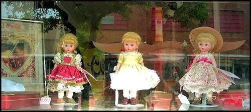 Three Dolls from the Bavarian Doll House in Downtown Historic Nacogdoches