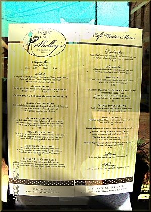 Shelley's Menu at 112 North Church St. in Downtown Historic Nacogdoches