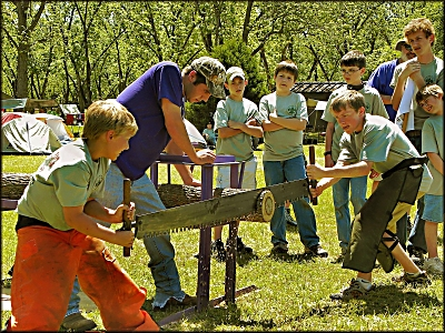 Log Sawing at the Boy Scout Camporee in Pecan Acres Park on La Nana Creek Trail